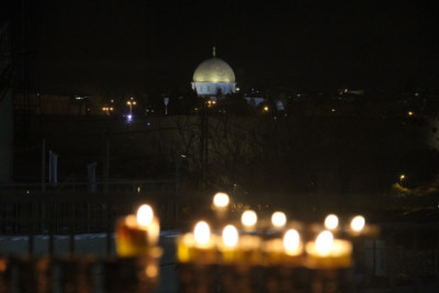 Chanukah Lighting on the Mount of Olives in Jerusalem